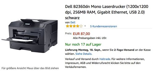 Dell B2360dn Mono Laserdrucker (1200x1200 dpi, 256MB RAM, Gigabit Ethernet, USB 2.0) schwarz - jetzt 25% billiger