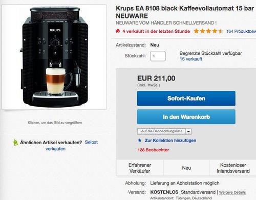 KRUPS EA8108 Kaffeevollautomat (1,8 l, 15 bar, CappuccinoPlus-Düse) schwarz - jetzt 5% billiger