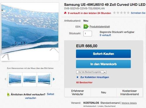 Samsung UE49KU6510 49 Zoll 4K Ultra HD Smart-TV - jetzt 12% billiger