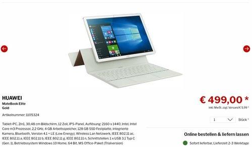 Huawei MateBook (30,5 cm (12 Zoll) Tablet-PC 2-in-1, Intel Core M3, 4GB, 128GB SSD, Win 10) - jetzt 28% billiger