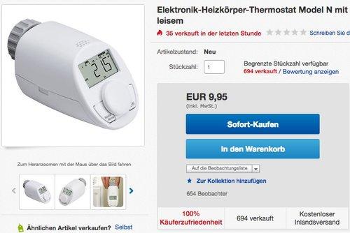 Heizkörperthermostat Model N - jetzt 16% billiger