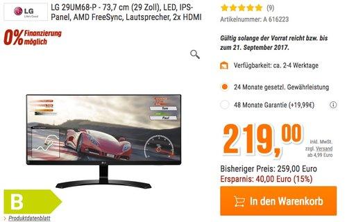 LG IT Products 29UM68-P 29 Zoll Monitor (1x DisplayPort 1.2, 2x HDMI, 1x PC Audio, 5 ms Reaktionszeit) - jetzt 13% billiger