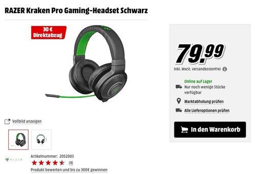 Razer Kraken Pro Black Gaming Headset Schwarz - jetzt 17% billiger