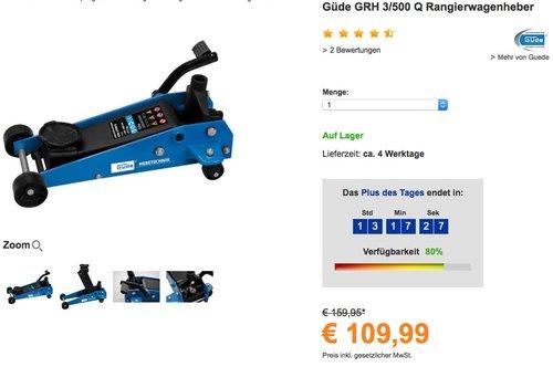 Güde Rangierwagenheber GRH 3/500 Q - jetzt 21% billiger