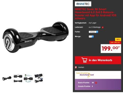 NINETEC Sonic X6 Smart Hoverboard 6,5 Zoll E-Balance-Scooter mit App für Android/ IOS schwarz - jetzt 34% billiger