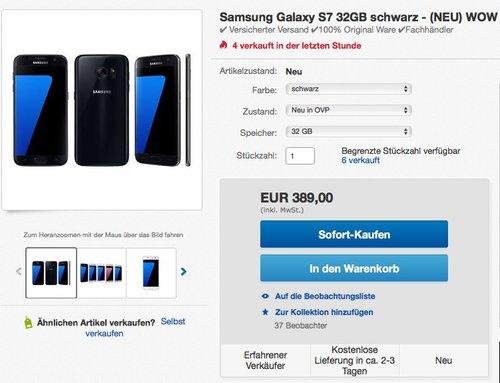 Samsung Galaxy S7 Smartphone (5,1 Zoll (12,9 cm) Touch-Display, 32GB interner Speicher, Android OS) schwarz - jetzt 3% billiger