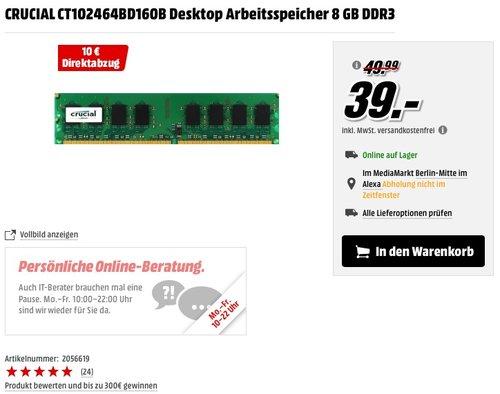 Crucial Arbeitsspeicher 8GB DDR3L 1600 MT/s (PC3L-12800) UDIMM 240-Pin - CT102464BD160B - jetzt 40% billiger