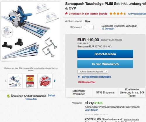 Scheppach Tauchsäge PL55 Set - jetzt 14% billiger