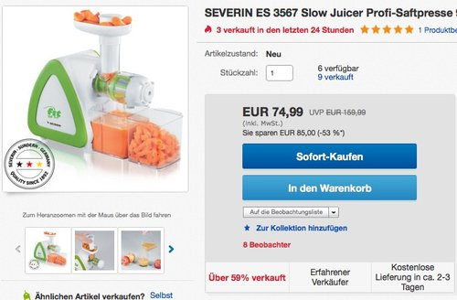 Severin ES 3567 Slow Entsafter, 950 ml, 150 W, weiß / grün - jetzt 17% billiger