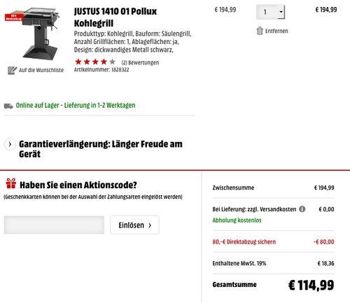 JUSTUS 1410 01 Pollux Kohlegrill - jetzt 27% billiger
