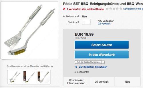 Rösle SET BBQ-Reinigungsbürste und BBQ-Wender Grillbesteck - jetzt 49% billiger