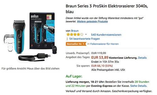Braun Series 3 ProSkin Elektrorasierer 3040s, blau - jetzt 16% billiger