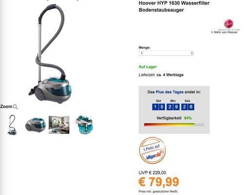 Hoover HYP 1630 Wasserfilter Bodenstaubsauger - jetzt 48% billiger