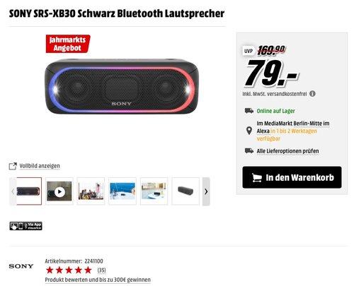 SONY SRS-XB30 Schwarz Bluetooth Lautsprecher - jetzt 31% billiger