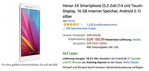 Honor 5X Smartphone (5,5 Zoll (14 cm) Touch-Display, 16 GB interner Speicher, Android 5.1) silber - jetzt 13% billiger