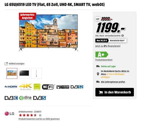 LG 65UJ6519 164 cm (65 Zoll) Fernseher (Ultra HD, Triple Tuner, Smart TV, Active HDR) - jetzt 8% billiger