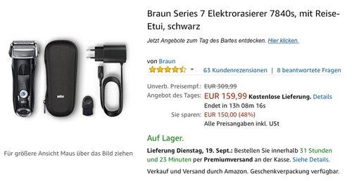 Braun Series 7 Elektrorasierer 7840s, mit Reise-Etui, schwarz - jetzt 11% billiger