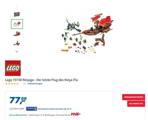 Lego 70738 Ninjago - Der letzte Flug des Ninja-Flu - jetzt 14% billiger