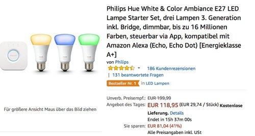Philips Hue White & Color Ambiance E27 LED Lampe Starter Set, drei Lampen 3. Generation inkl. Bridge - jetzt 17% billiger