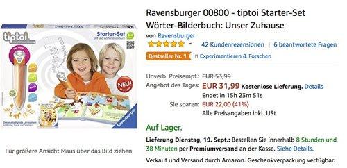Ravensburger 00800 - tiptoi Starter-Set Wörter-Bilderbuch: Unser Zuhause - jetzt 41% billiger