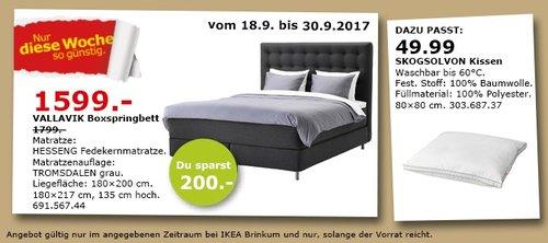 IKEA VALLAVIK Boxspringbett, 180x200 cm - jetzt 11% billiger