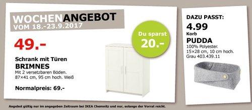 IKEA BRIMNES Schrank mit Türen, 87x41 cm, 95 cm hoch, weiß - jetzt 29% billiger