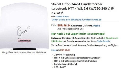 Stiebel Eltron 74464 Händetrockner - jetzt 66% billiger
