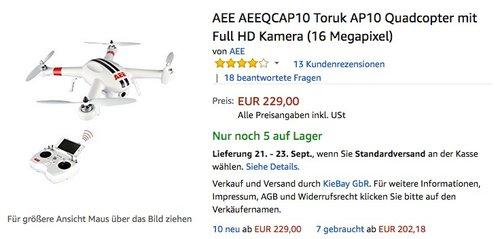 AEE AEEQCAP10 Toruk AP10 Quadcopter mit Full HD Kamera (16 Megapixel)  - jetzt 24% billiger