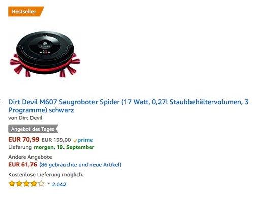 Dirt Devil M607 Saugroboter Spider (17 Watt, 0,27l Staubbehältervolumen, 3 Programme) schwarz - jetzt 14% billiger