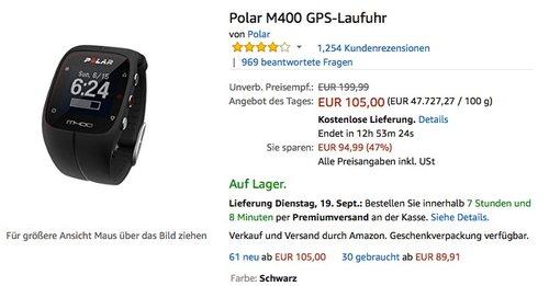 Polar M400 GPS-Laufuhr - jetzt 8% billiger