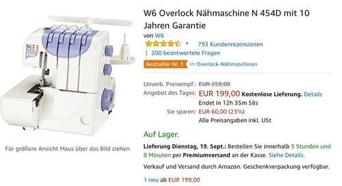 W6 Overlock Nähmaschine N 454D mit 10 Jahren Garantie - jetzt 12% billiger