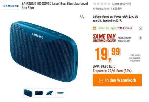 Samsung Level Box Slim Mono Blau - Tragbare Bluetooth Lautsprecher - jetzt 23% billiger