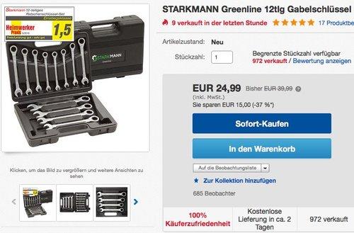 STARKMANN Greenline Werkzeug Gabelschlüssel mit Ratschenfunktion  12 tlg - jetzt 16% billiger