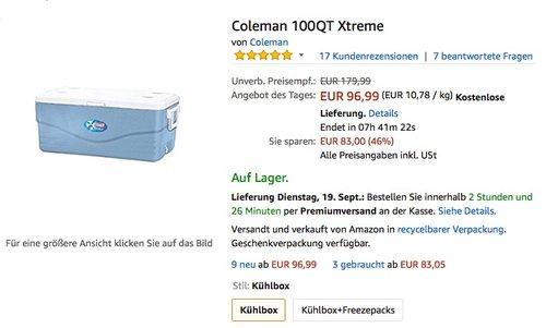 Kühlbox Coleman 100QT Xtreme - jetzt 17% billiger