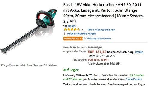 Bosch 18V Akku Heckenschere AHS 50-20 LI mit Akku - jetzt 15% billiger