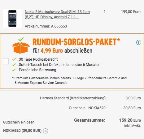 Nokia 5 Dual SIM Smartphone (13,2 cm (5,2 Zoll), 16GB, 13 Megapixel Kamera, Android 7.0)  - jetzt 17% billiger