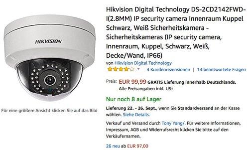 Hikvision Digital Technology DS-2CD2142FWD-I (2.8mm) - jetzt 28% billiger