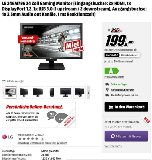 LG IT Products 24GM79G-B 60,96 cm (24 Zoll) Gaming Monitor - jetzt 20% billiger