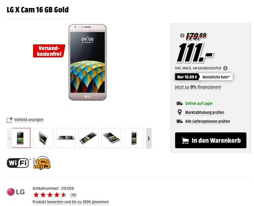 LG X Cam Smartphone (13,2 cm (5,2 Zoll) Touch-Display, 16 GB interner Speicher, Android 6.0) gold - jetzt 28% billiger
