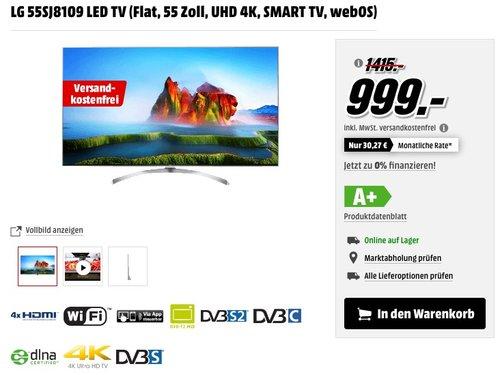 LG 55SJ8109 139 cm (55 Zoll) Fernseher (Super Ultra HD, Triple Tuner, Smart TV, Active HDR) - jetzt 19% billiger
