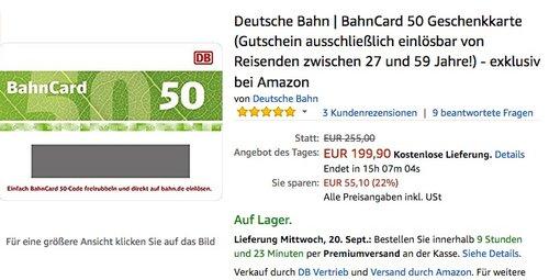 Deutsche Bahn BahnCard 50 Geschenkkarte - jetzt 22% billiger