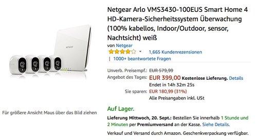 Netgear Arlo VMS3430-100EUS Smart Home 4 HD-Kamera-Sicherheitssystem - jetzt 19% billiger
