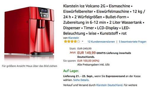Klarstein Ice Volcano 2G Eismaschine Eiswürfelbereiter Eiswürfelmaschine - jetzt 24% billiger