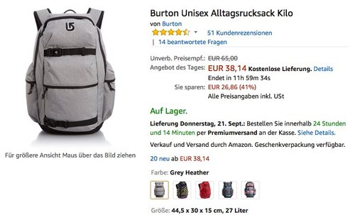 Burton Unisex Alltagsrucksack Kilo - jetzt 24% billiger