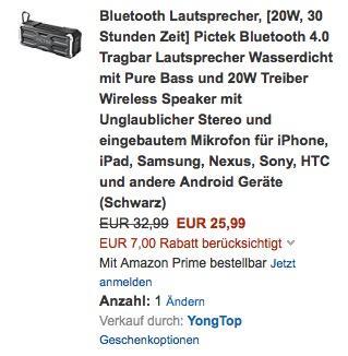 Pictek Bluetooth 4.0 Tragbar Lautsprecher Wasserdicht mit Pure Bass und 20W - jetzt 21% billiger