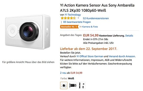 YI Action Kamera Sensor Aus Sony Ambarella A7LS 2Kp30 1080p60-Weiß - jetzt 21% billiger