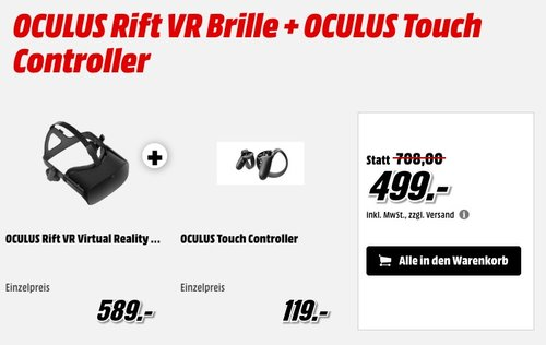 OCULUS Rift VR Brille + OCULUS Touch Controller - jetzt 14% billiger