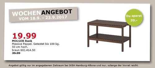 IKEA MOLGER Bank, 50 cm hoch, braun - jetzt 50% billiger