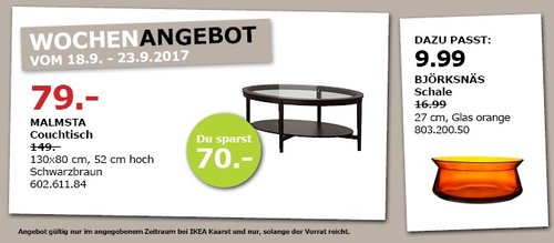 IKEA MALMSTA Vouchtisch, 130x80 cm, 52 cm hoch - jetzt 47% billiger