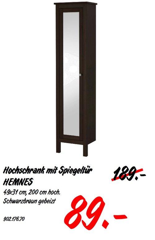 IKEA HEMNES Hochschrank mit Spiegeltür, 49x31 cm, 200 cm hoch - jetzt 53% billiger